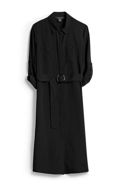Robe-chemise noire style militaire