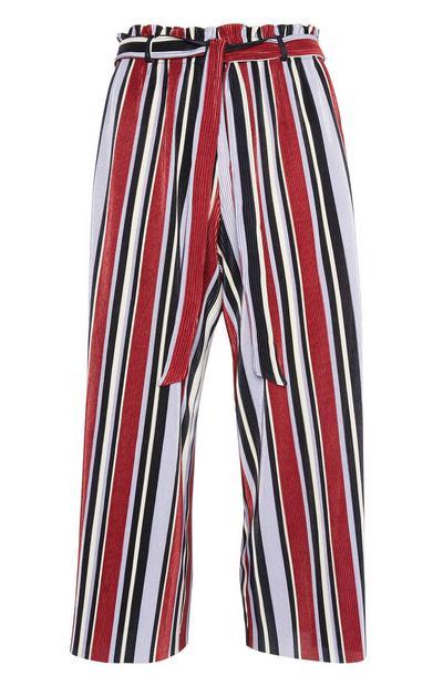 Falda pantalón plisada a rayas