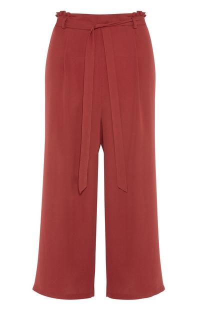 Pantalones de pernera ancha color naranja tostado