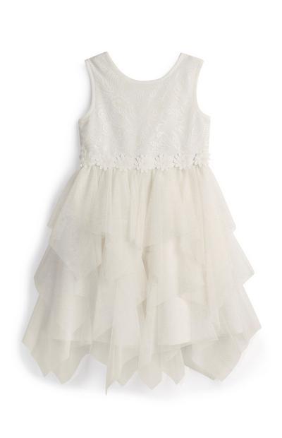 Vestido menina flores branco