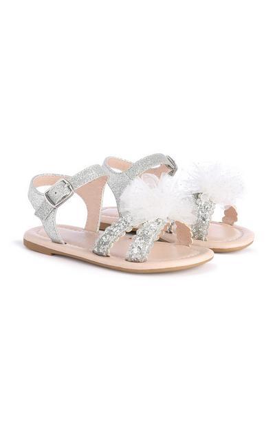 Sandalias plateadas para niña pequeña
