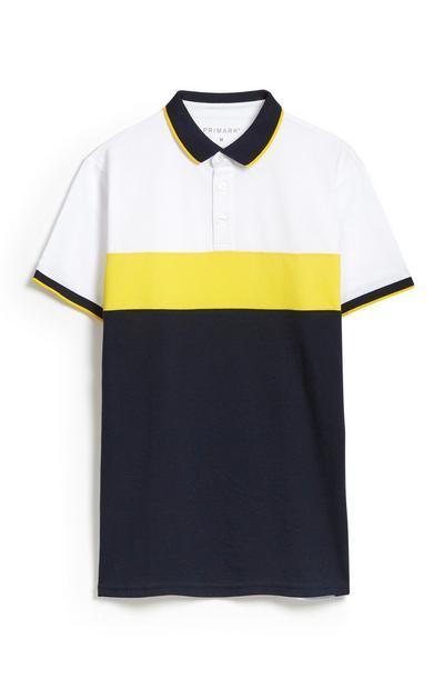 Polo Colour Block amarelo