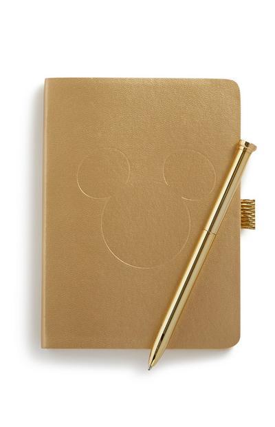 Notitieboek Mickey Mouse met gouden pen