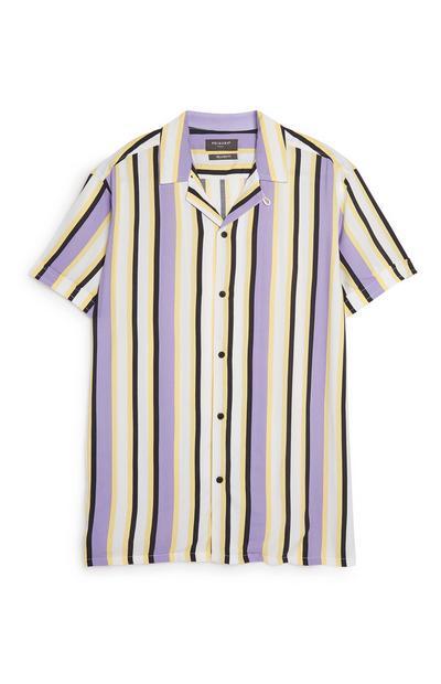 Chemise violette rayée à coordonner