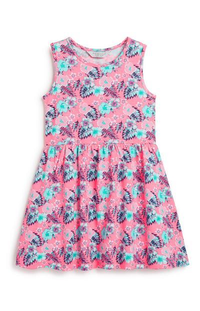 Obleka s cvetličnim vzorcem za mlajša dekleta
