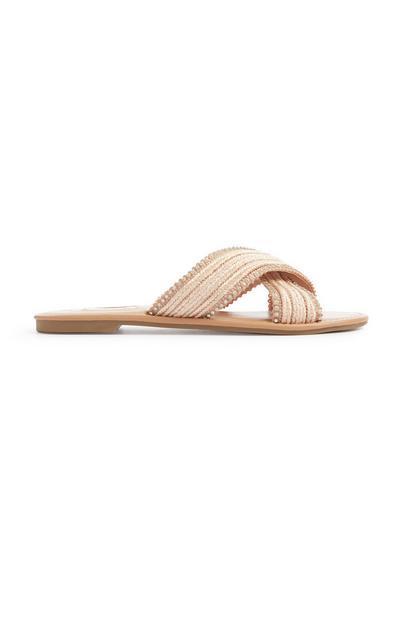 Sandalias nude con cuentas