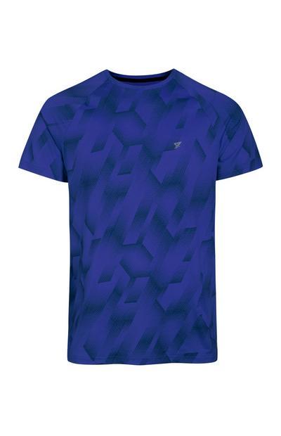 Camiseta deportiva azul estampada