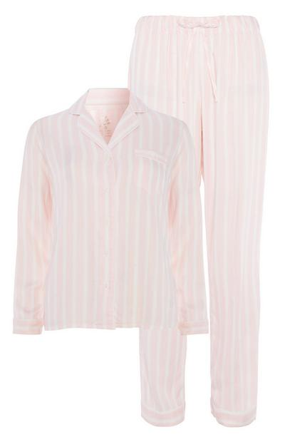 Pyjama rose à rayures