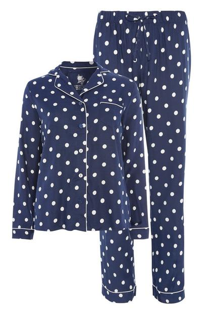 Donkerblauwe pyjamaset met stippen