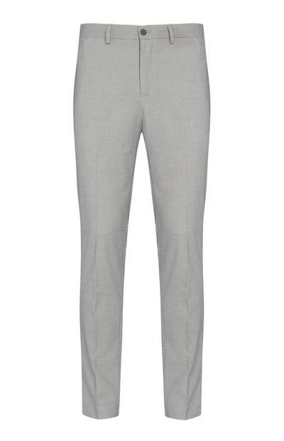 Pantalon gris à motif pied-de-poule
