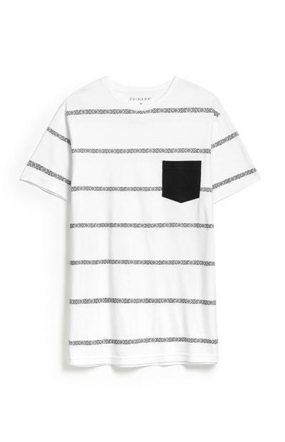 T-shirt riscas branco