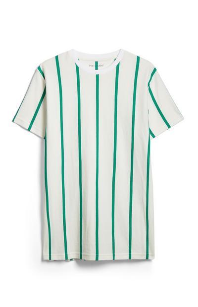 T-shirt riscas branco e verde