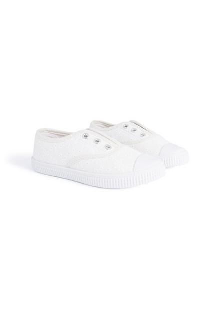 Baskets blanches sans lacets fille