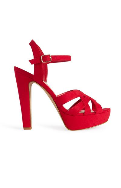 Red Strappy Platform Sandal Heels