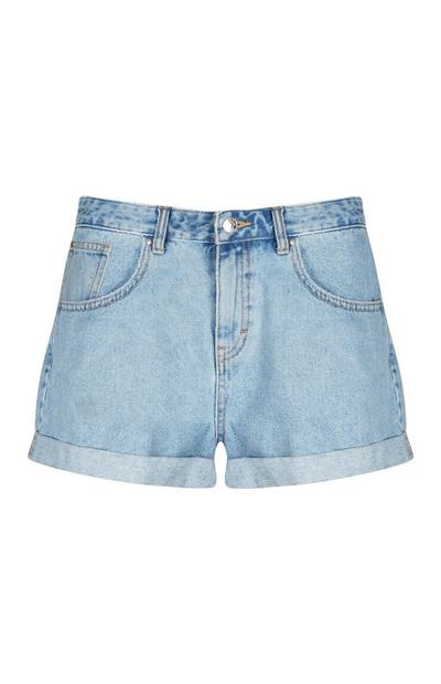 Blaue Mom-Shorts