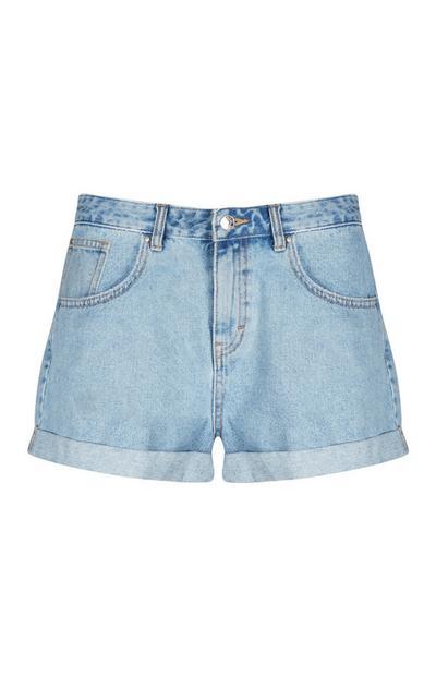 Modre kratke hlače z visokim pasom