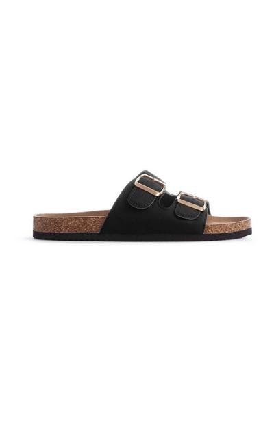 Zwarte sandalen met voetbed