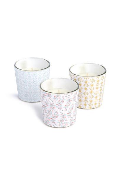 Pack de 3 velas en vaso con estampado