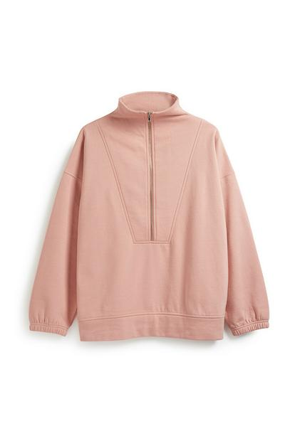 Rosa Pullover im Oversized-Look