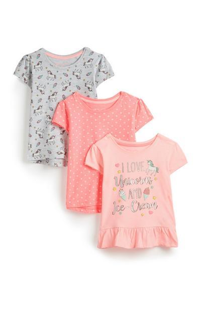 Lot de 3t-shirts licorne bébé fille