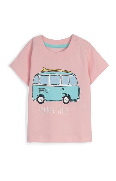 T-shirt rose à motif van bébé garçon