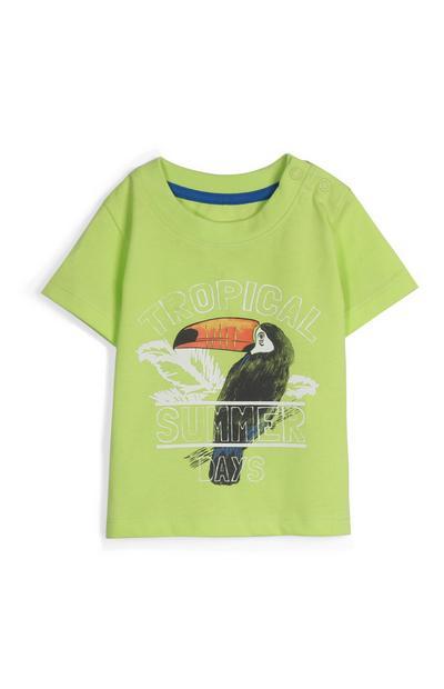 Camiseta en color lima con tucán para bebé niño
