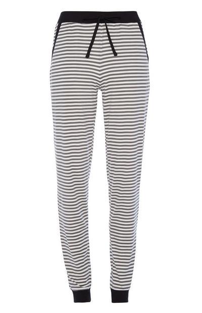 Zwarte gestreepte pyjamabroek