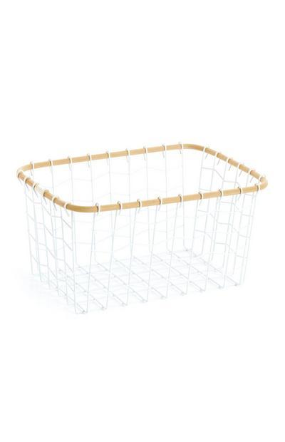 Cesto bianco rettangolare in rete metallica