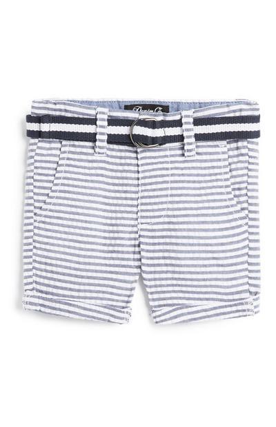 Pantalones cortos a rayas azules para bebé niño