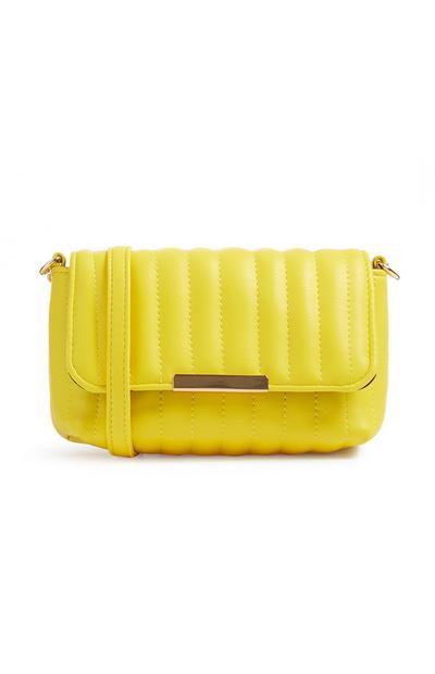 Bolso cruzado amarillo acolchado
