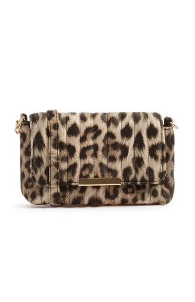 Mala tiracolo acolchoada padrão leopardo