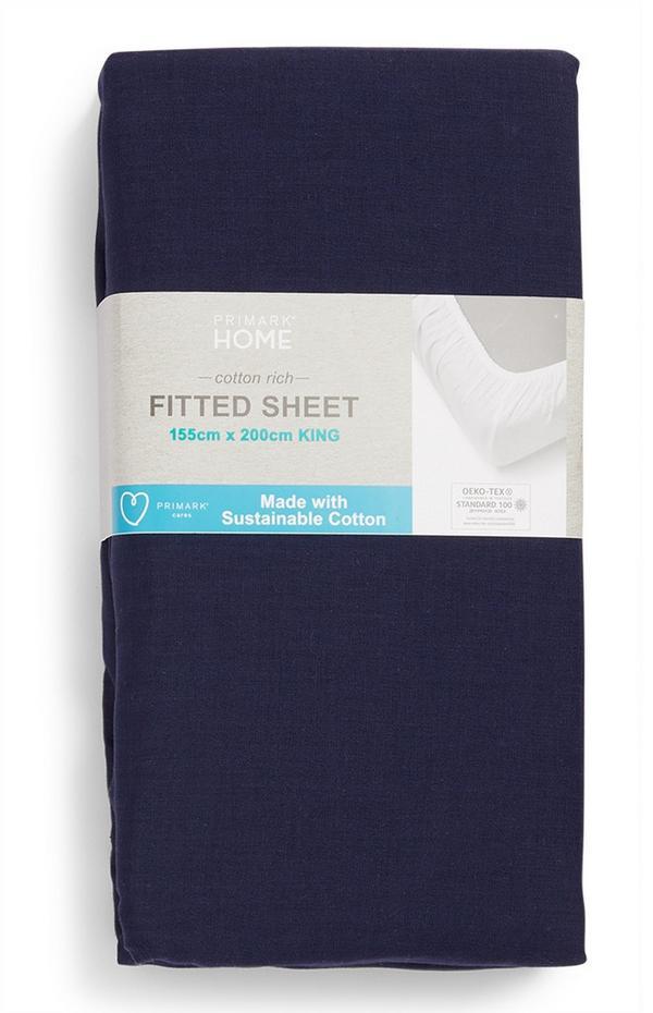 Sábana ajustable con fundas de almohada de algodón de color azul marino