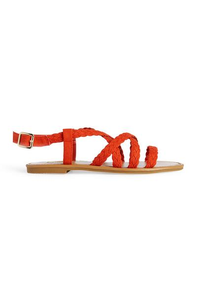 Sandálias gladiador cor de laranja