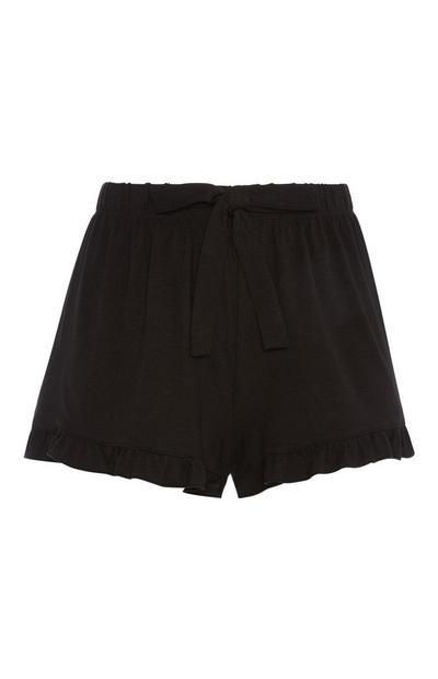 Zwarte pyjamashort met volants