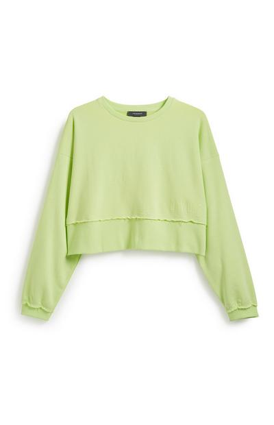 Sweat-shirt court vert fluo