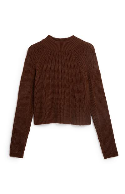 Brown Turtle Neck Crop Jumper