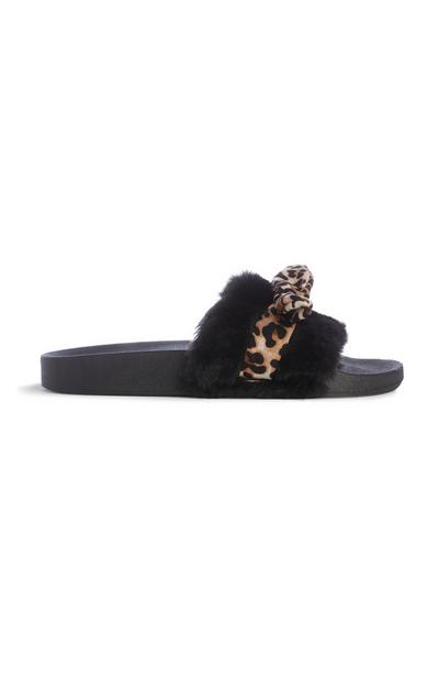 Black Faux Fur Slider