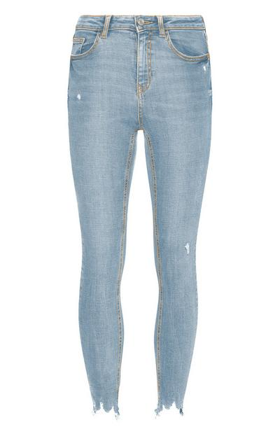 Light Blue Distressed Ankle Jeans