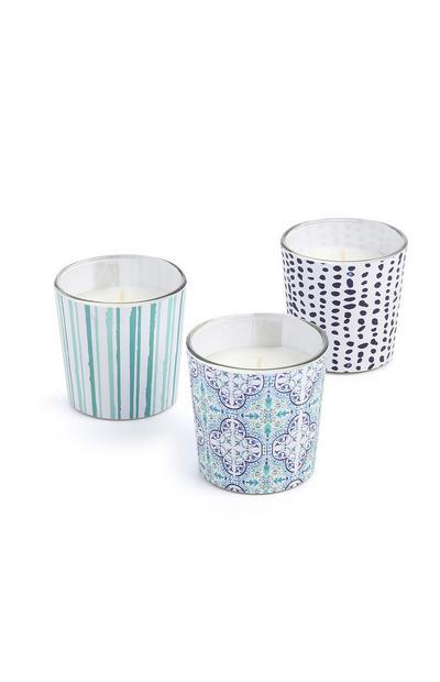 Blauwe kaarsen, set van 3