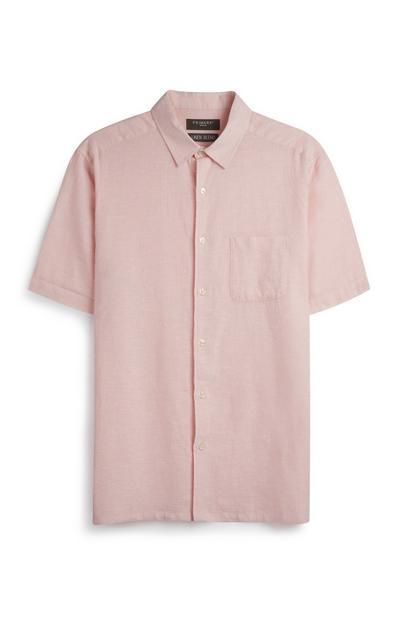 Camisa linho cor-de-rosa