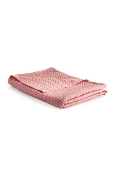 Jeté de lit gaufré léger rose