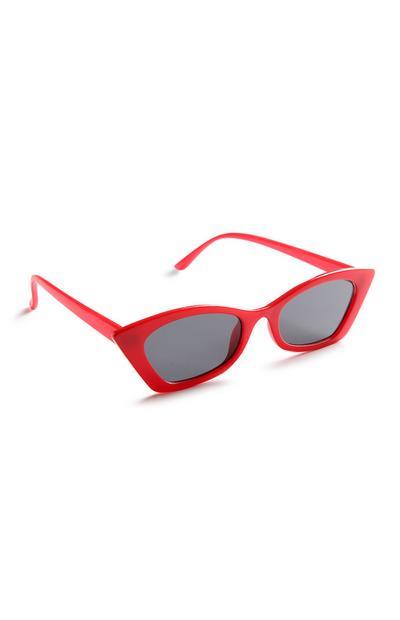 Rote Cateye-Sonnenbrille