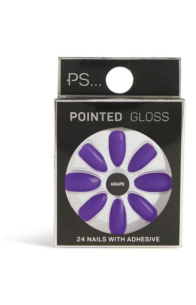 Faux ongles brillants pointus