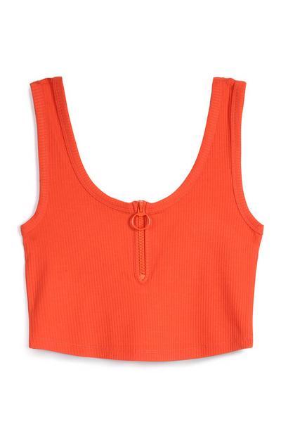 Orange Zip Crop Top