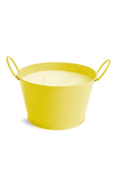 Gele citronellakaars met twee lonten