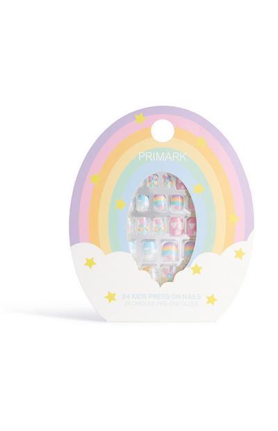 Plaknagels met regenboogprint
