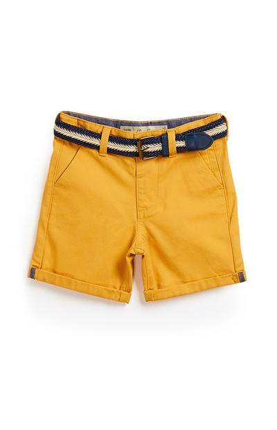Short chino moutarde garçon