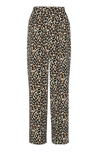 Calças largas com estampado de leopardo