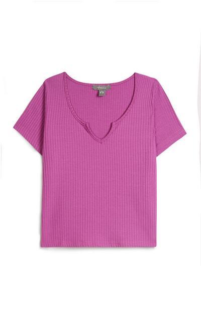 T-shirt violet côtelé