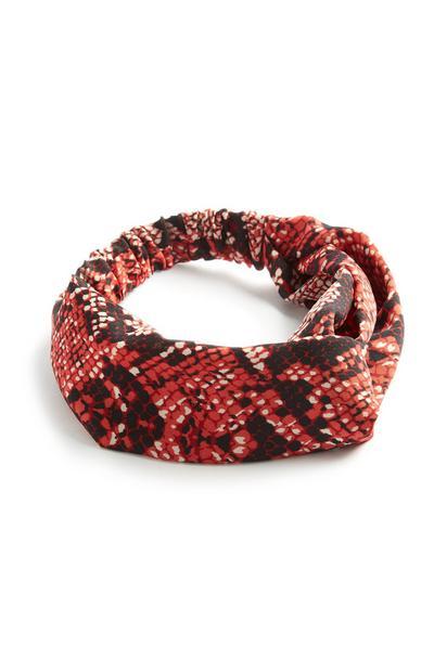 Oranje haarband met slangenprint